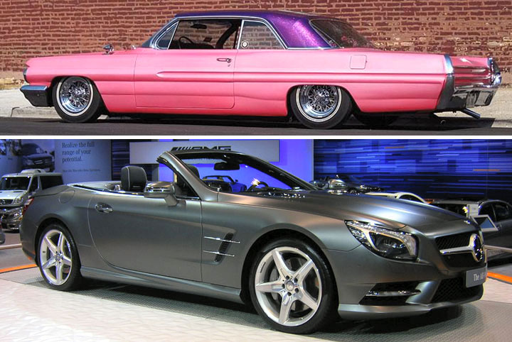 1962 Pontiac Catalina with pearly satin finish;  2013 Mercedes-Benz SL 500 with matte finish