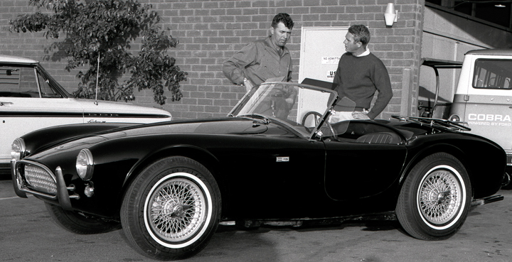 Carroll Shelby with Steve McQueen, Shelby Cobra and Steve McQueen