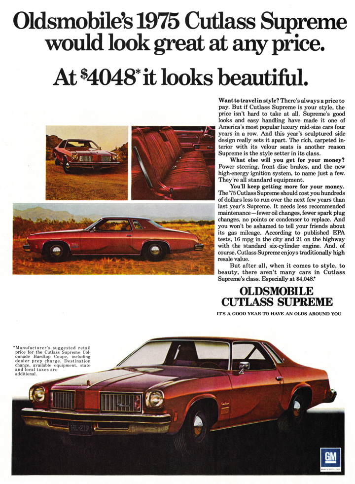 1975 cutlass supreme ad, full