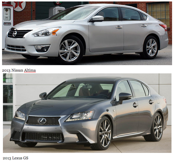 Separated At Birth The Nissan Altima And Lexus Gs Look