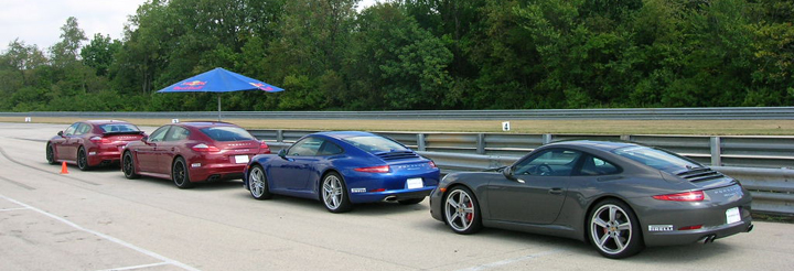 Panamera GTS, a 911 Carrera, and a 911 Carrera S.