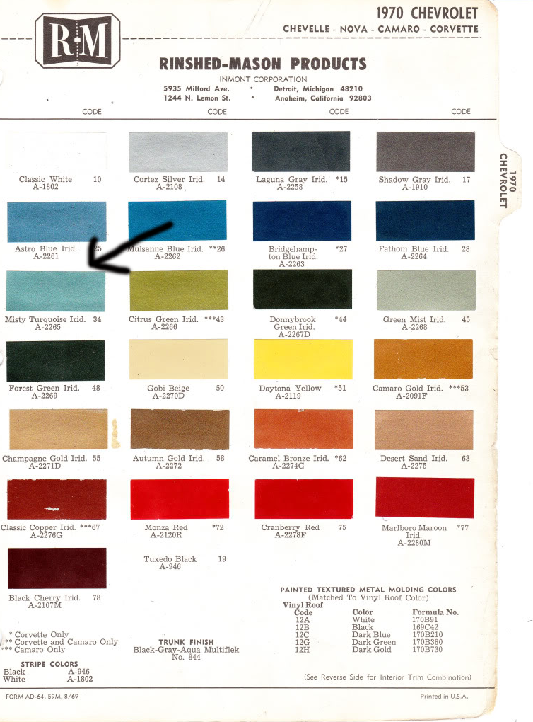 1970 Chevrolet color chart