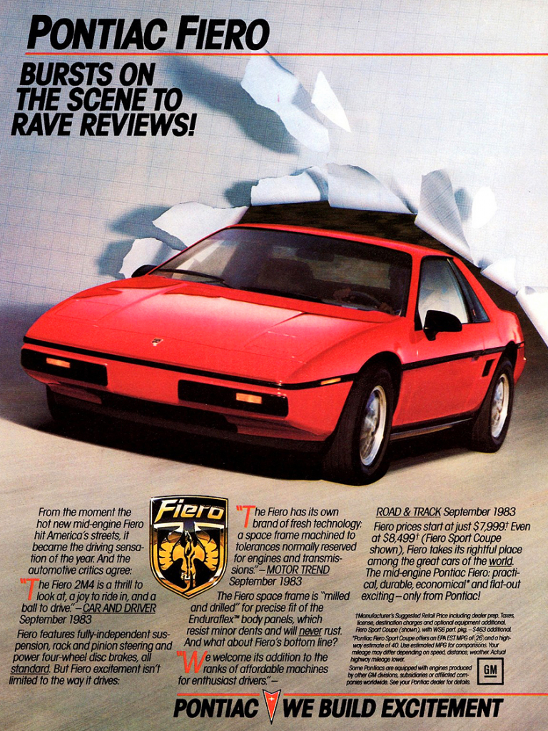 1984 Pontiac Ad (Fiero shown)