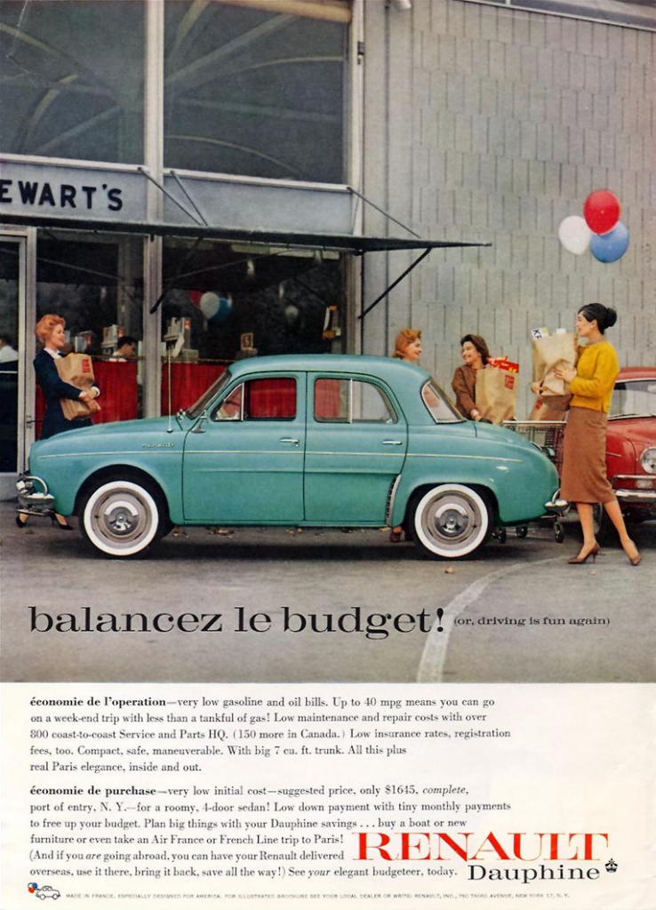 1960 Renault Dauphine Ad
