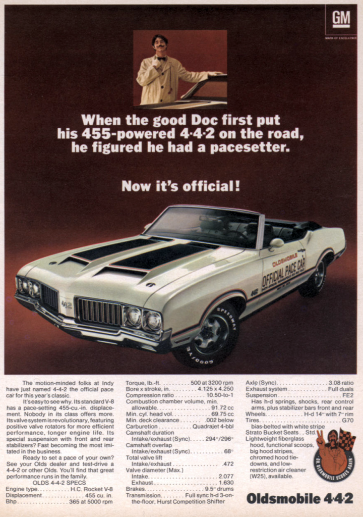 1970 Oldsmobile Pace Car Ad