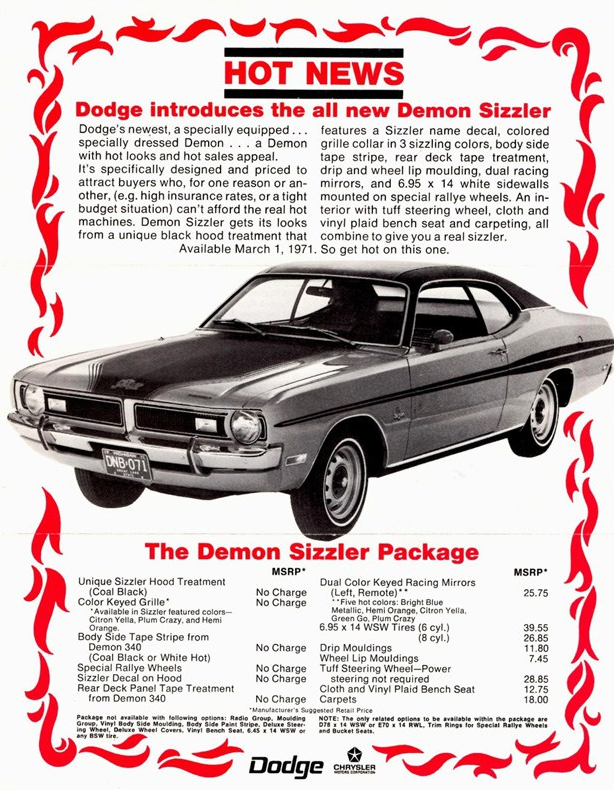 Dodge Demon Sizzler Ad