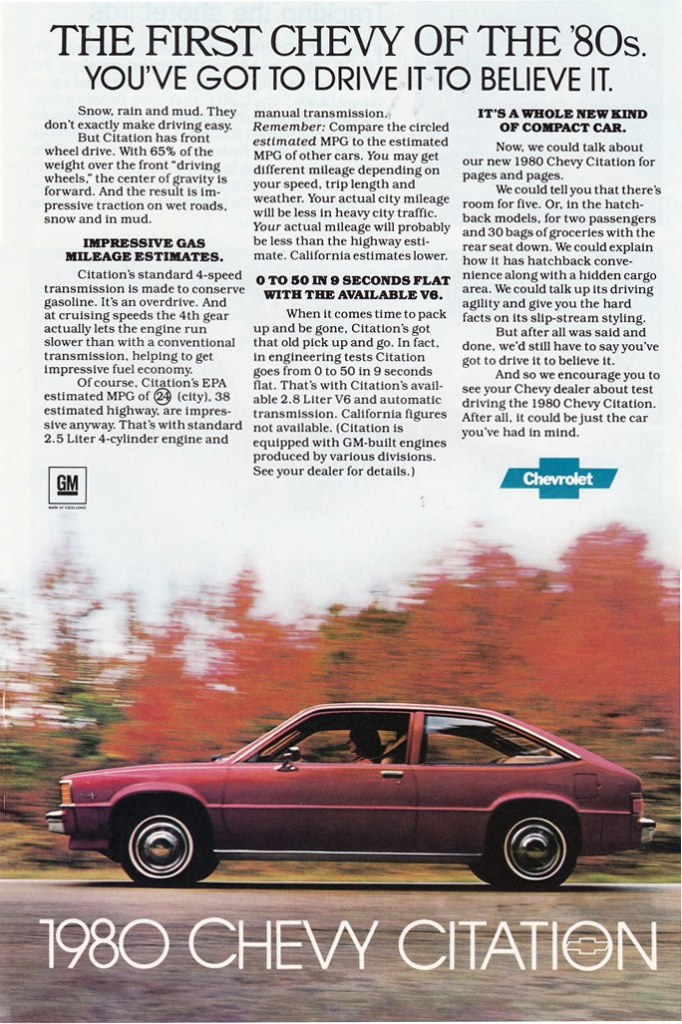 1980 Chevrolet Citation Ad