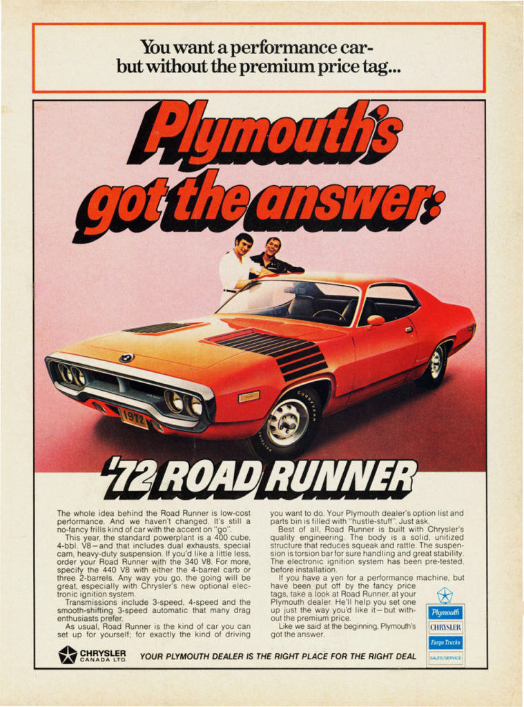 1972 Plymouth Road Runner Ad