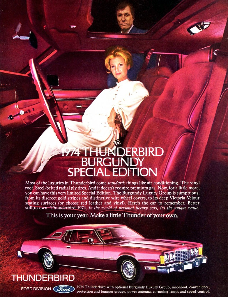 1974 Ford Thunderbird Ad, Burgundy Edition