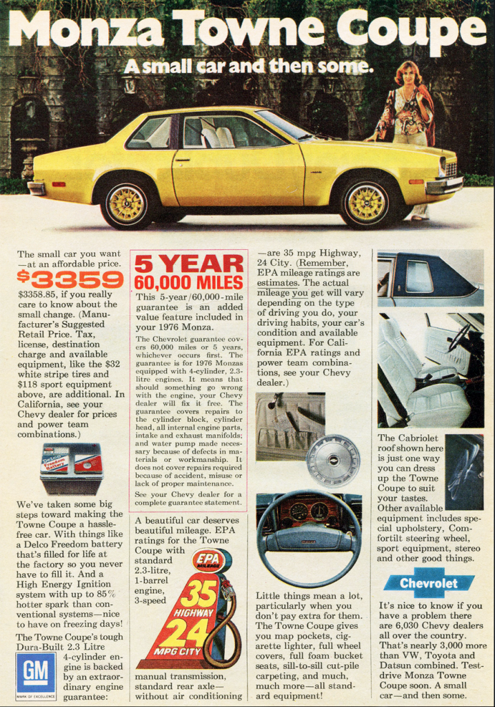 1976 Monza Towne Coupe Ad