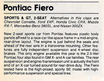 1984 Fiero Review