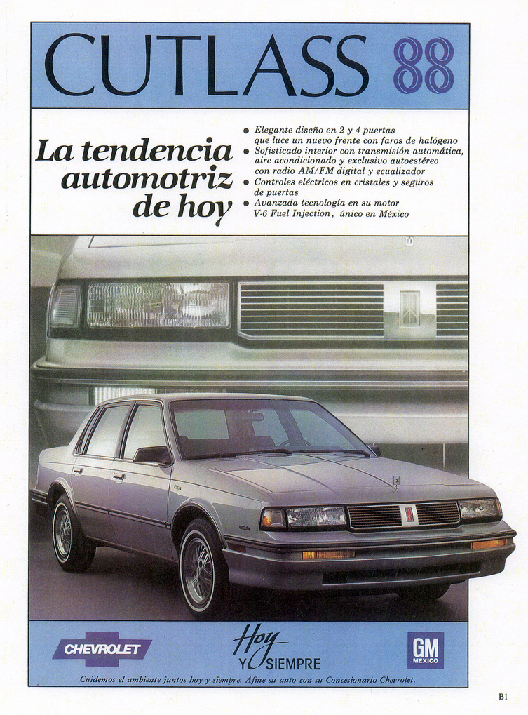1988 Chevrolet Cutlass Ad (Mexico)
