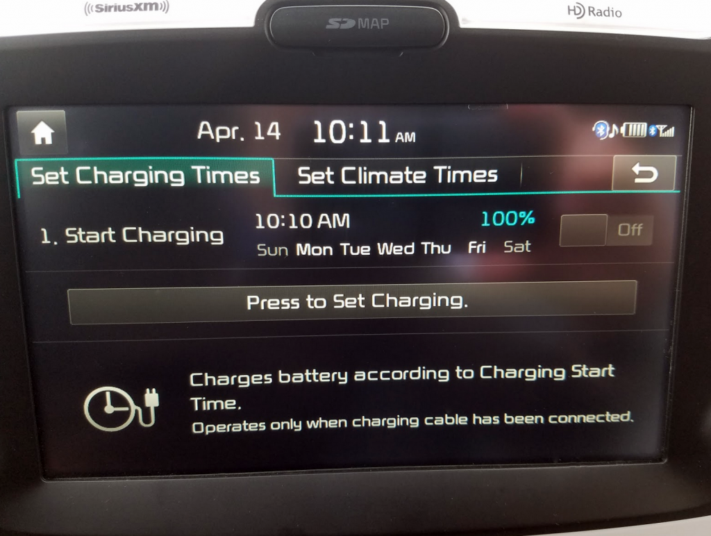 Kia Soul EV Charge Schedule Screen