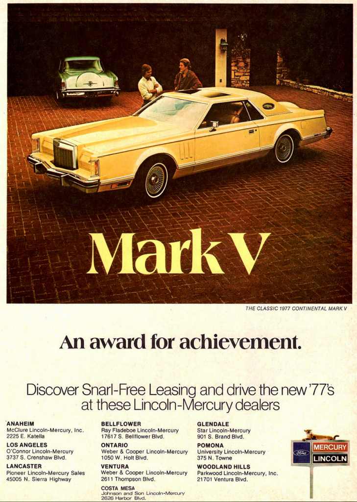 1977 Lincoln Continental Mark V Ad