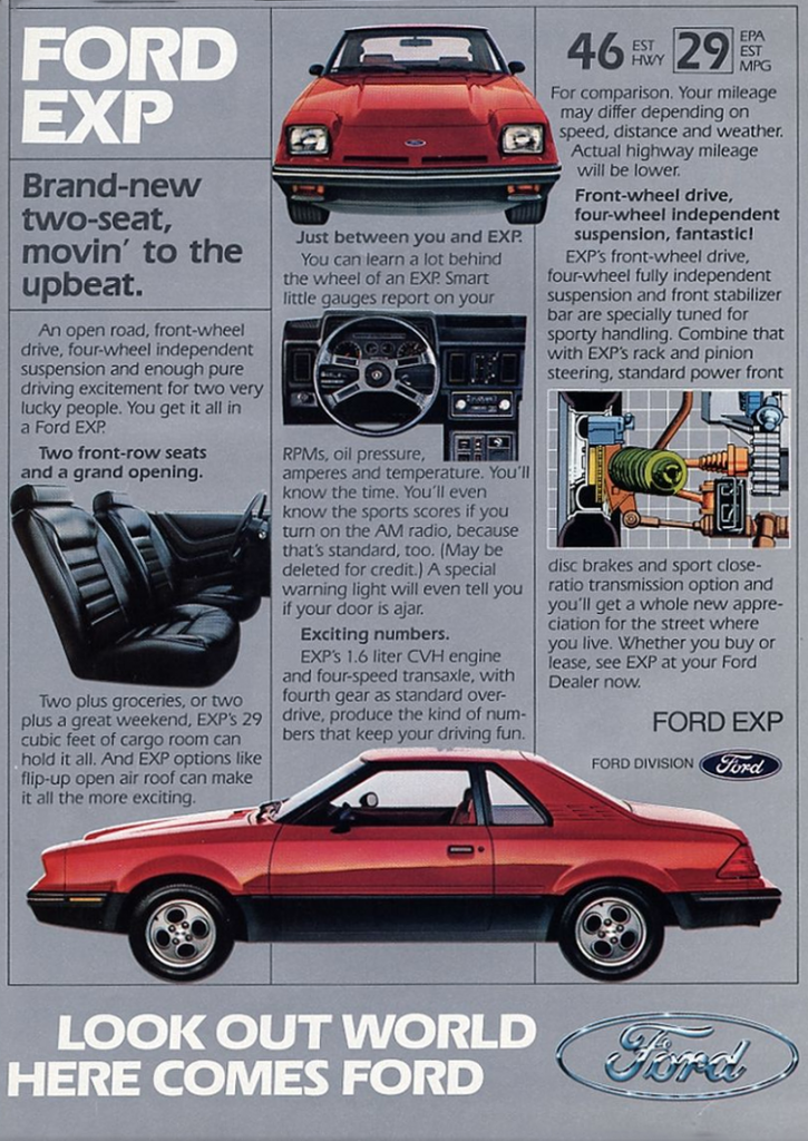 1982 Ford EXP Ad