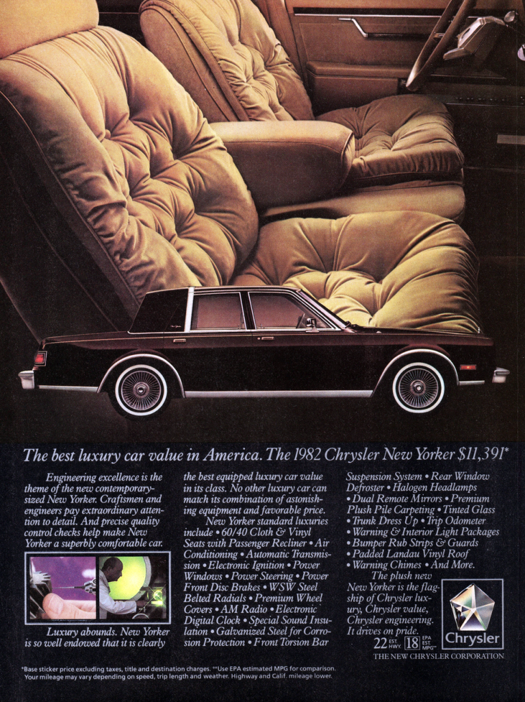 1982 Chrysler New Yorker Ad