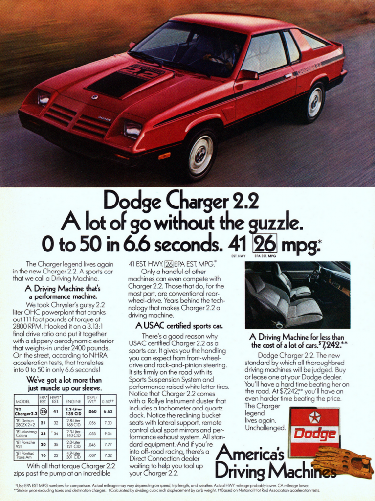 1982 Dodge Charger Ad