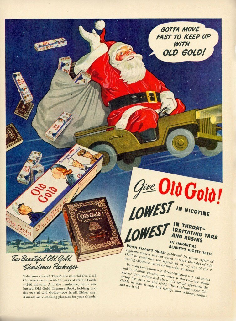 Old Gold Cigarettes Ad, Santa, Jeep,