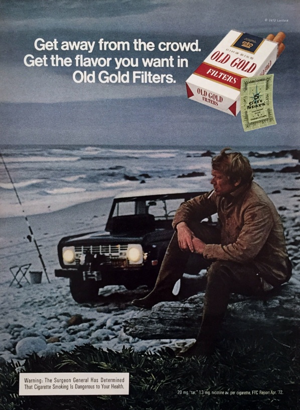 Old Gold Cigarettes Ad, Bronco, Cars in Cigarette Ads