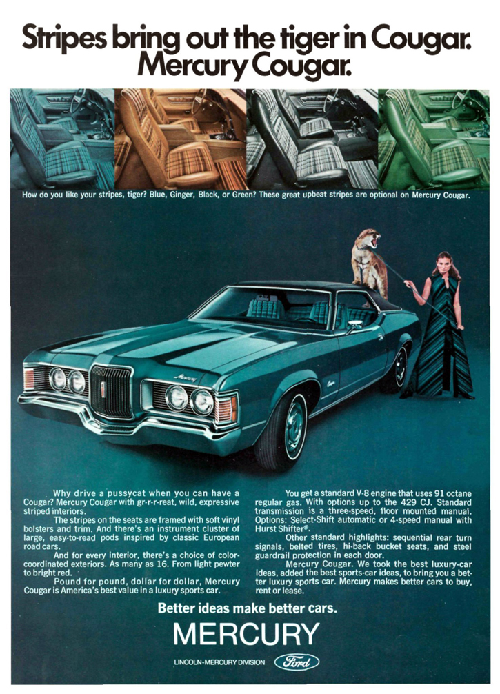 feline madness  gallery  mercury cougar ads  daily drive consumer guide  daily
