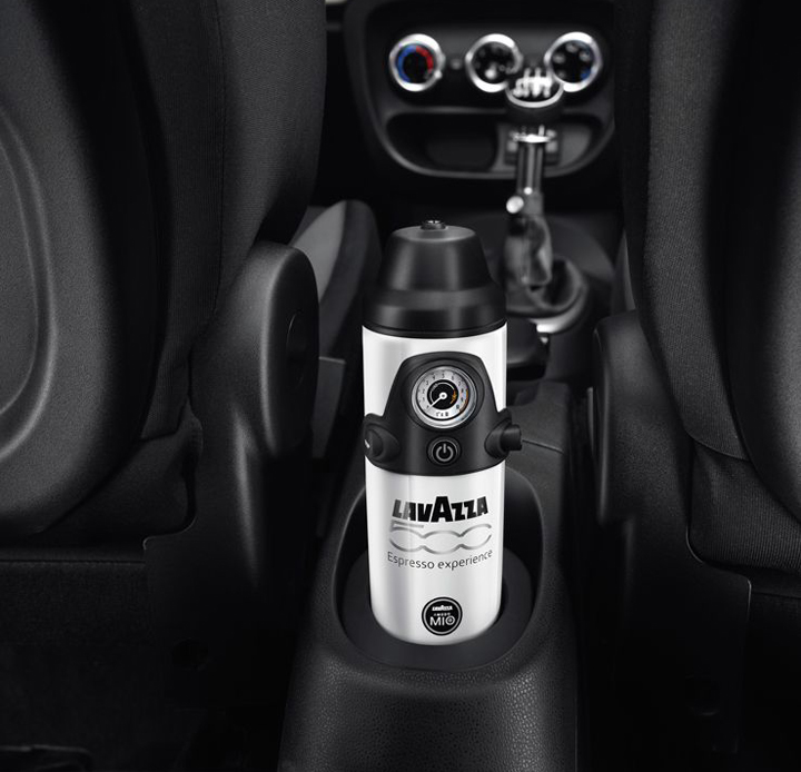 Compact espresso coffee maker in the Fiat 500L, In-Car Coffee Maker