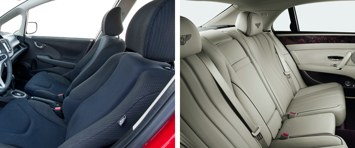 An image of a black cloth interior on the left, a beige leather interior on the right
