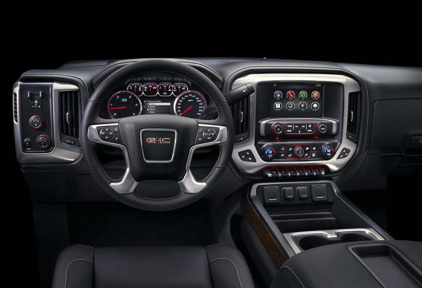 A freshened cabin is part of the HD update for 2015. Shown here is a Sierra in SLT trim.