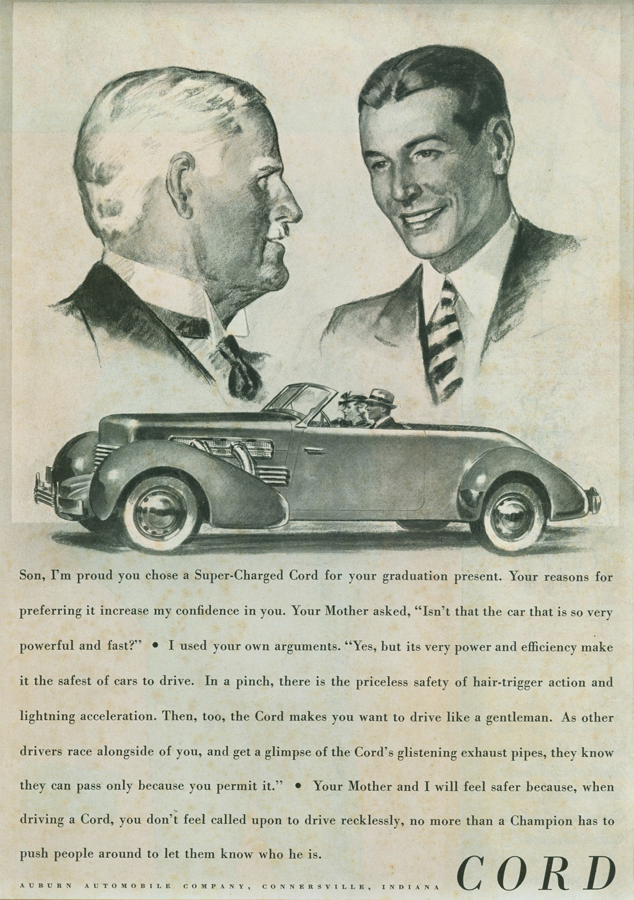 classic car ads giant floating heads edition the daily drive 1937 cord 812 convertible phaeton sedan ad 1