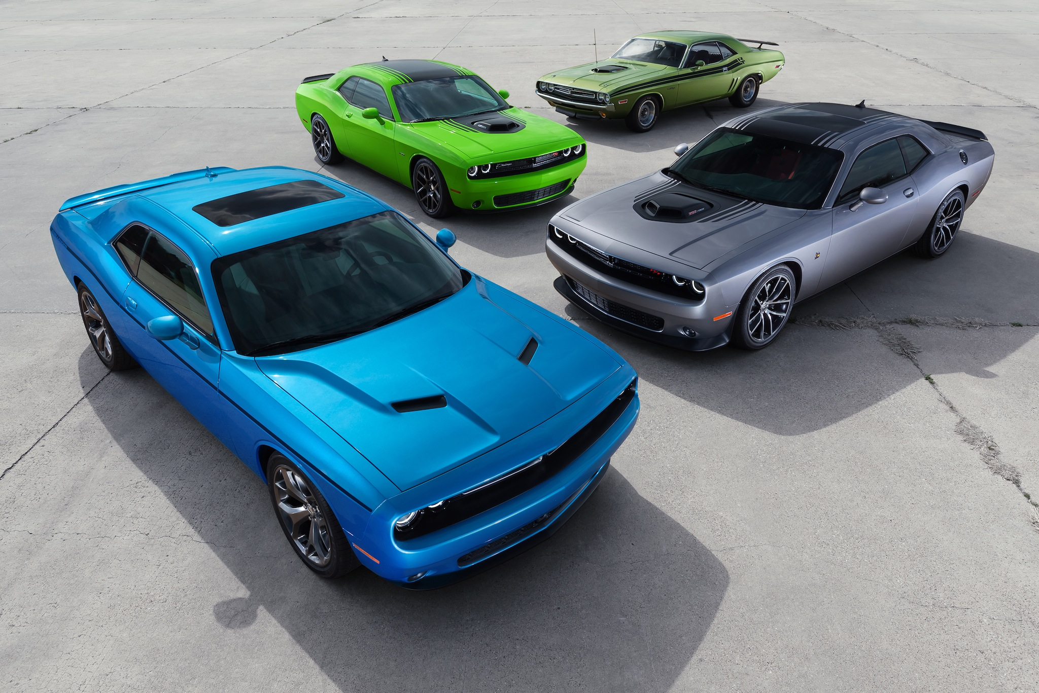 From Front to back: 2015 Dodge Challenger SXT, 2015 Challenger 3