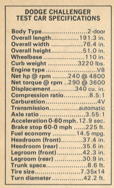 1972 Dodge Challenger Specifications
