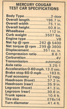 1972 Mercury Cougar Specifications