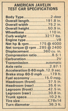 1972 AMC Javelin Specifications