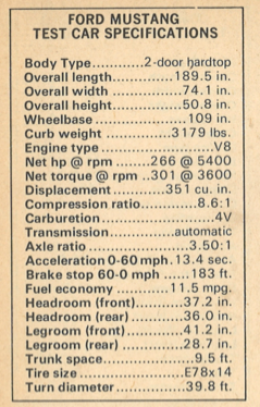 1972 Ford Mustang Specifications
