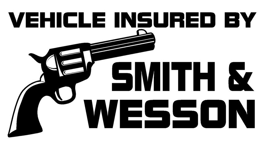 Vehicle insured by Smith & Wesson, Stupid Bumper Stickers