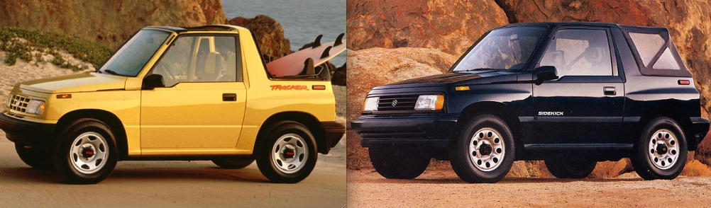 1989 Geo Tracker (left) and Suzuki Sidekick