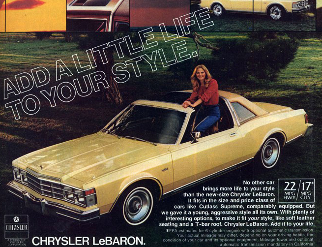 1978 Chrysler LeBaron, Ads Featuring T-Tops