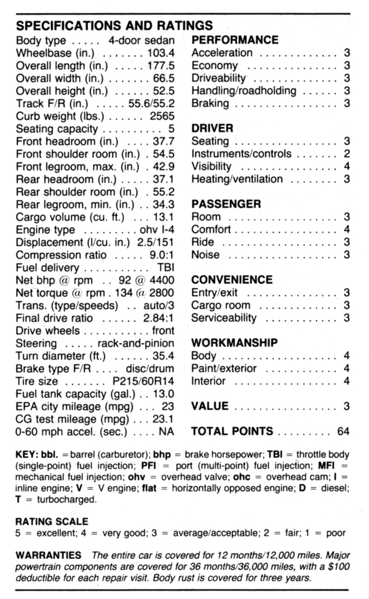 1986 Pontiac Grand Am specs