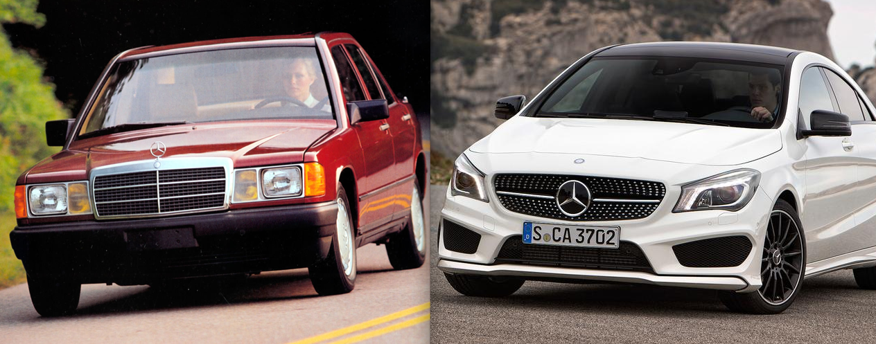 1985 Mecedes-Benz 190E and 2015 Mercedes-Benz CLA 250