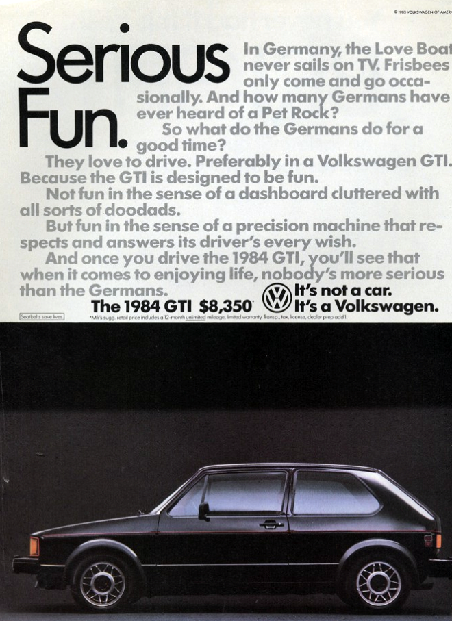 1984 Rabbit GTI Ad