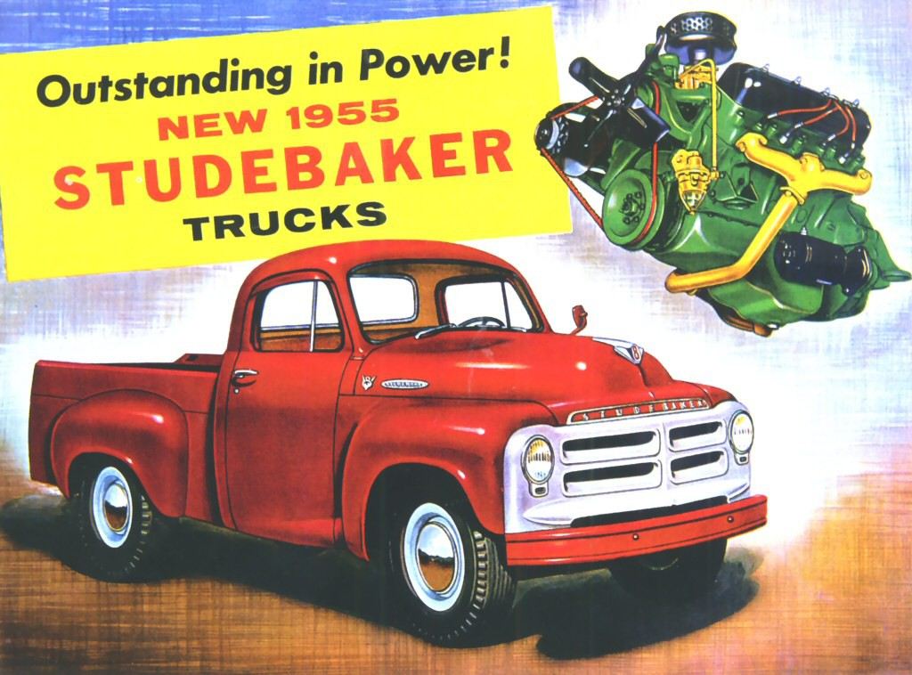 1955-Studebaker-Pickup-Advertisement, Most Powerful Pickup Engines