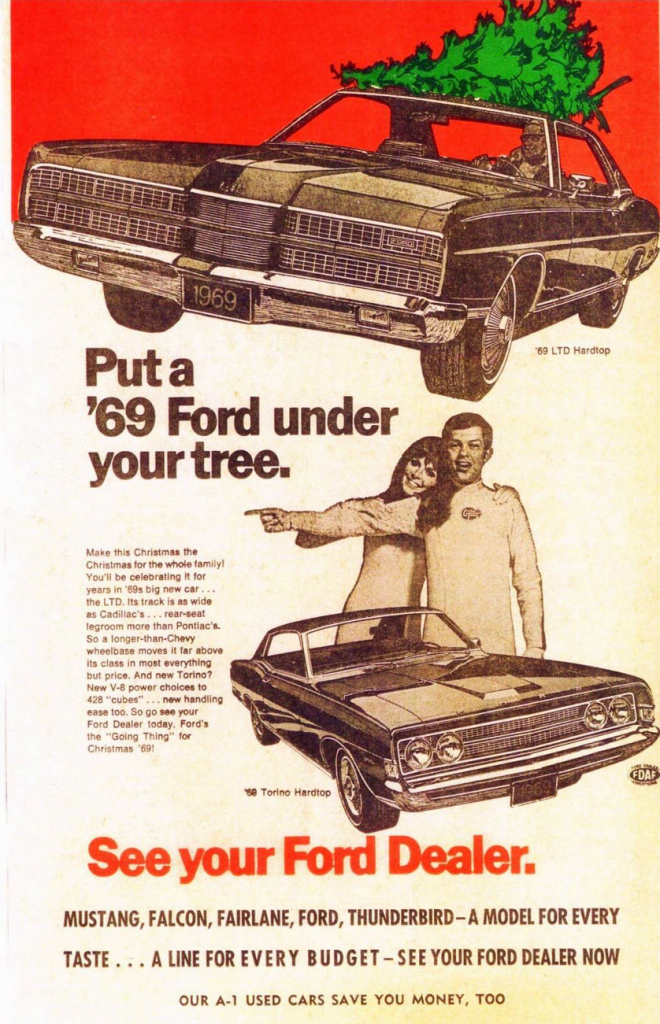 christmas ford holiday 1969 ads cars classic ad cool theme advertisements advertising celebrate ltd these hardtop madness merry torino company