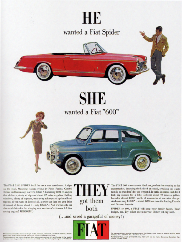 1964 Fiat ad, Marriage in Auto Advertising