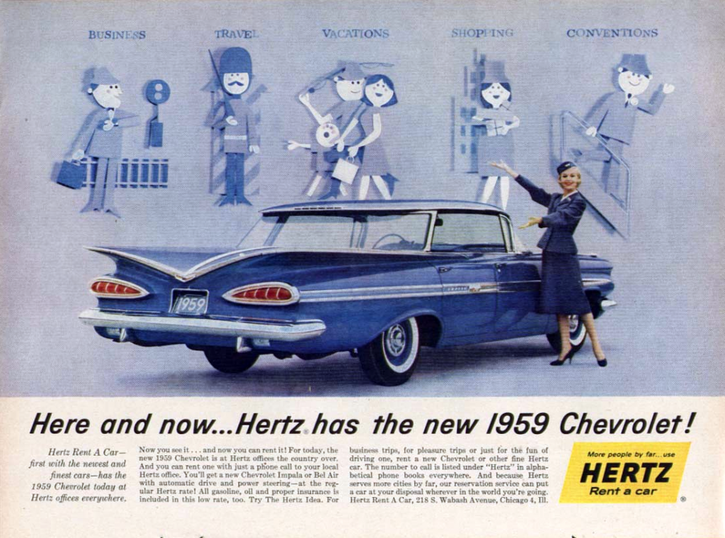 Hertz ad with 1959 Chevrolet