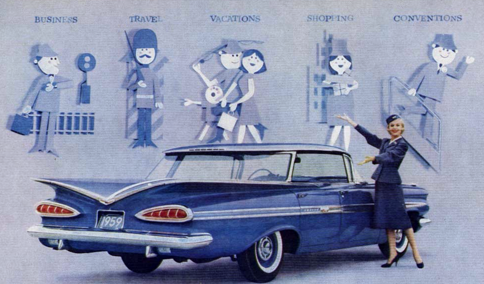 1959 Hertz ad with Chevrolet, Classic Ads From 1959