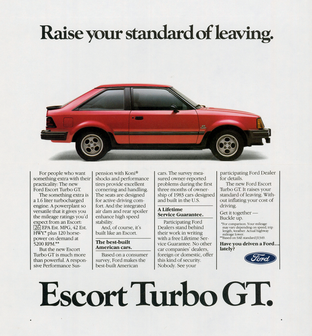 1984 Ford Escort GT Ad