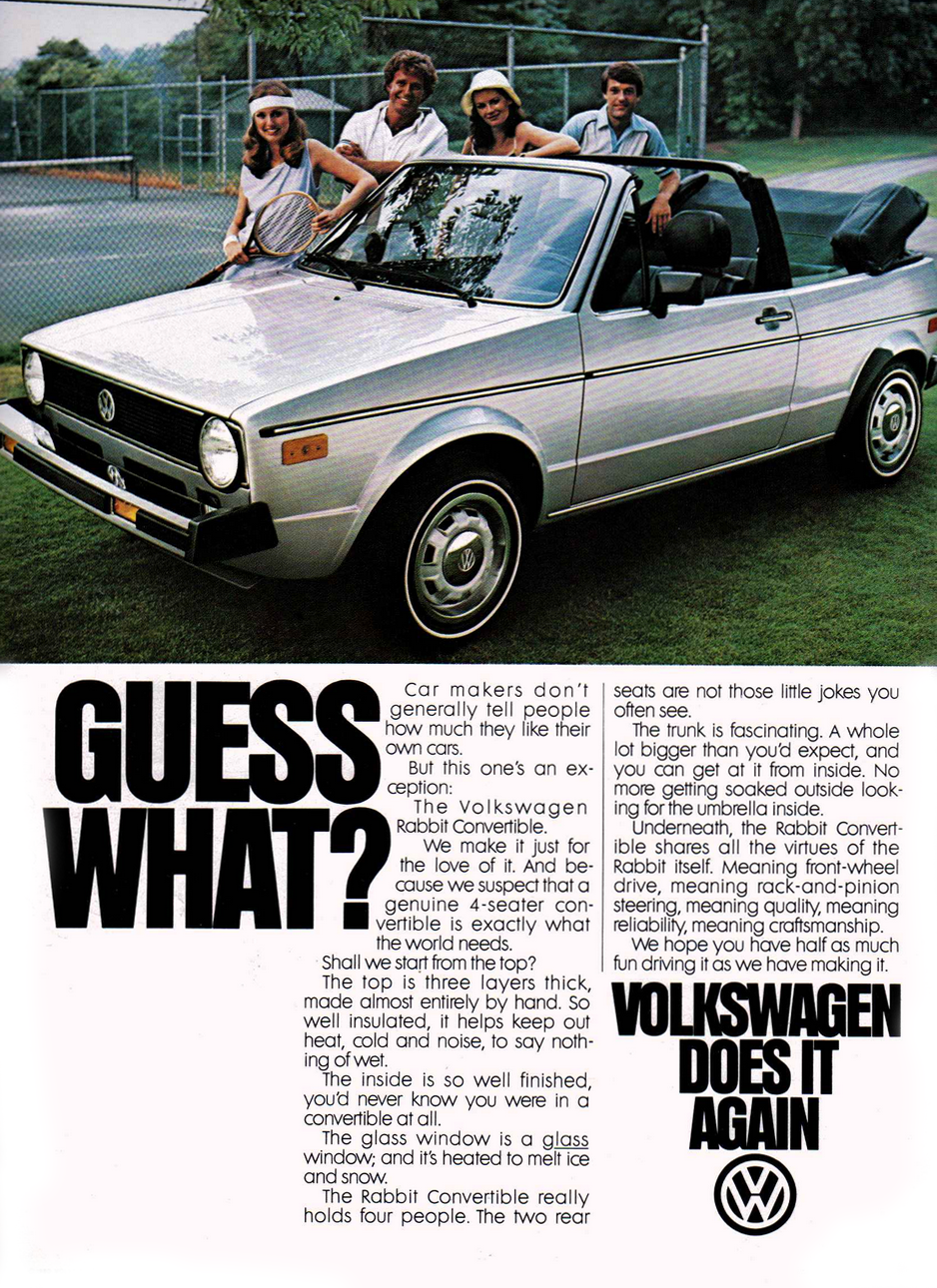 1986 Volkswagen Rabbit Convertible Ad