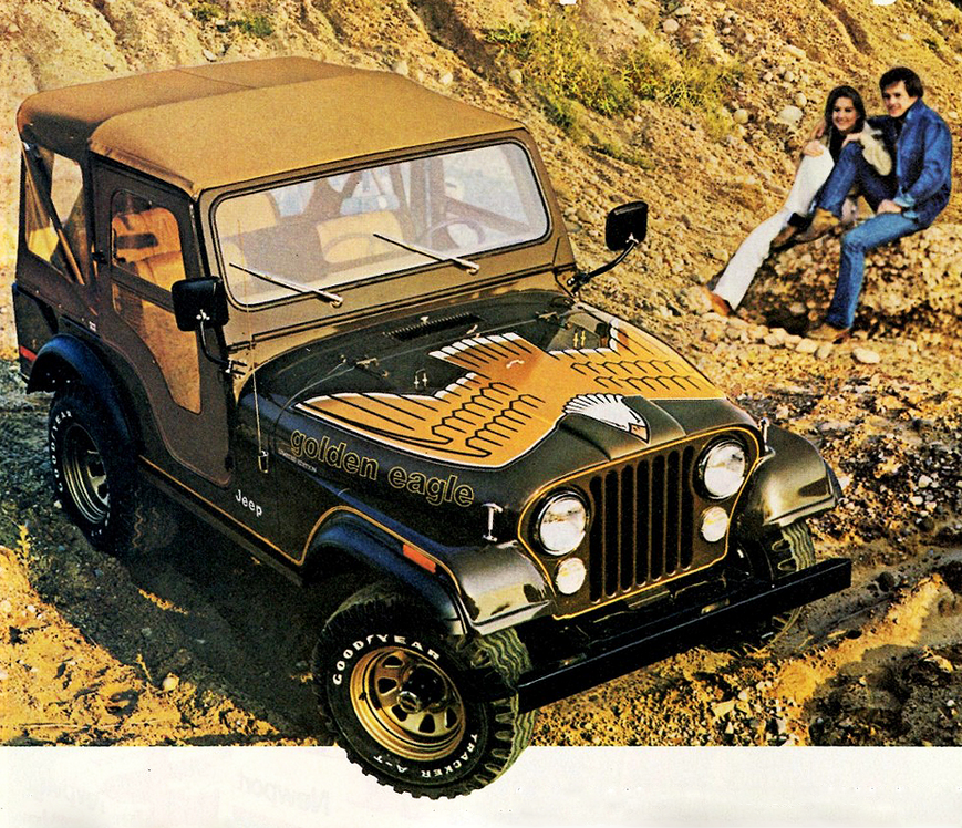 Jeep The Golden Eagle Vintage Car Advertising Poster