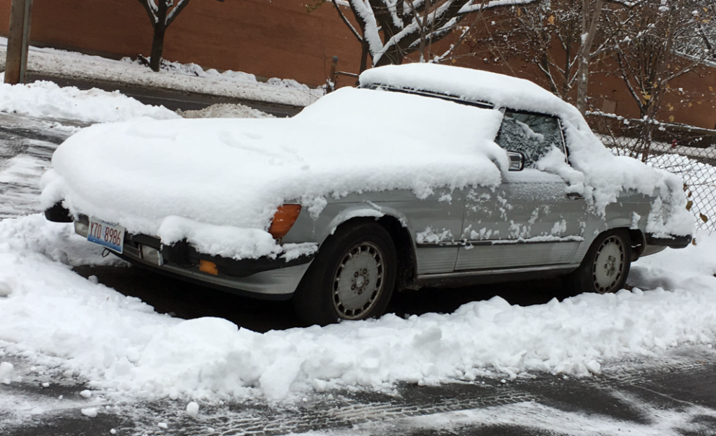Snow-bound Mercedes SL