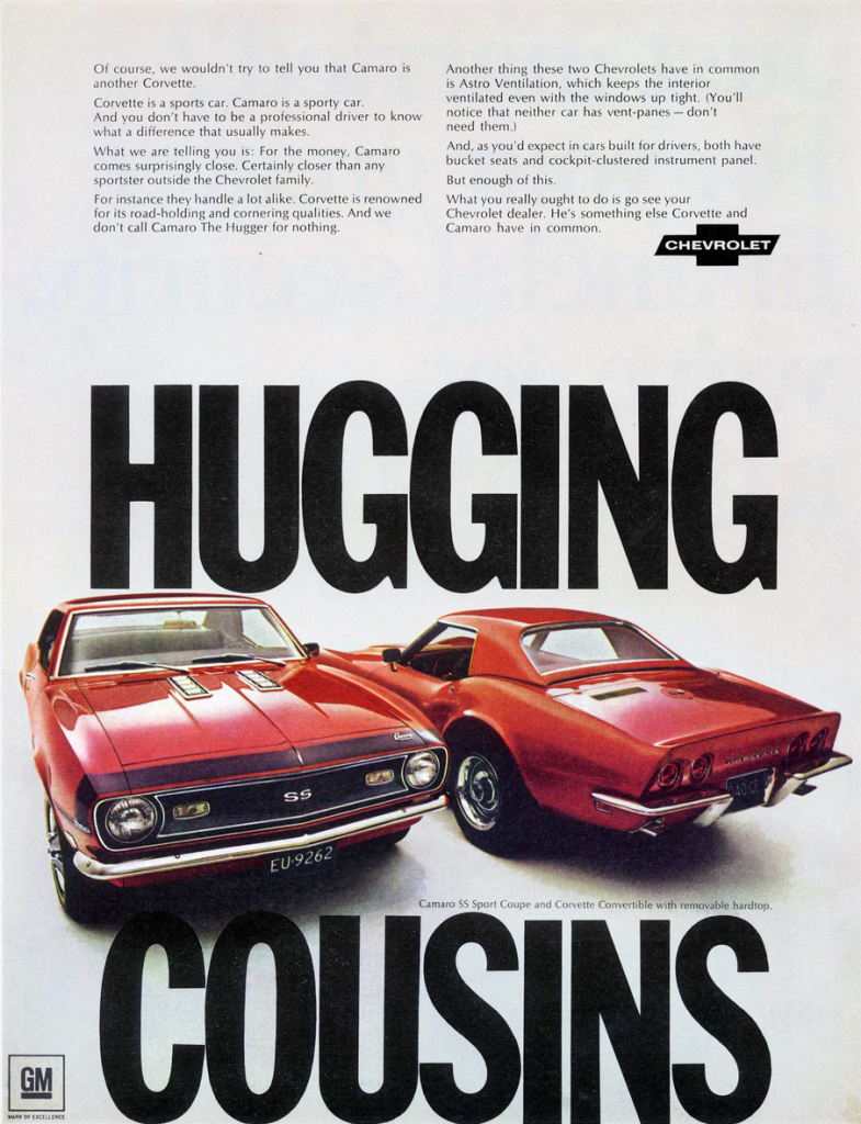 1968 Chevrolet Camaro and Corvette Ad