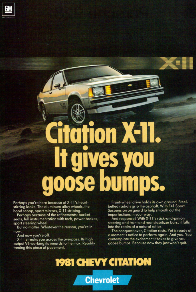 1981 Chevrolet Citation X-11 Ad